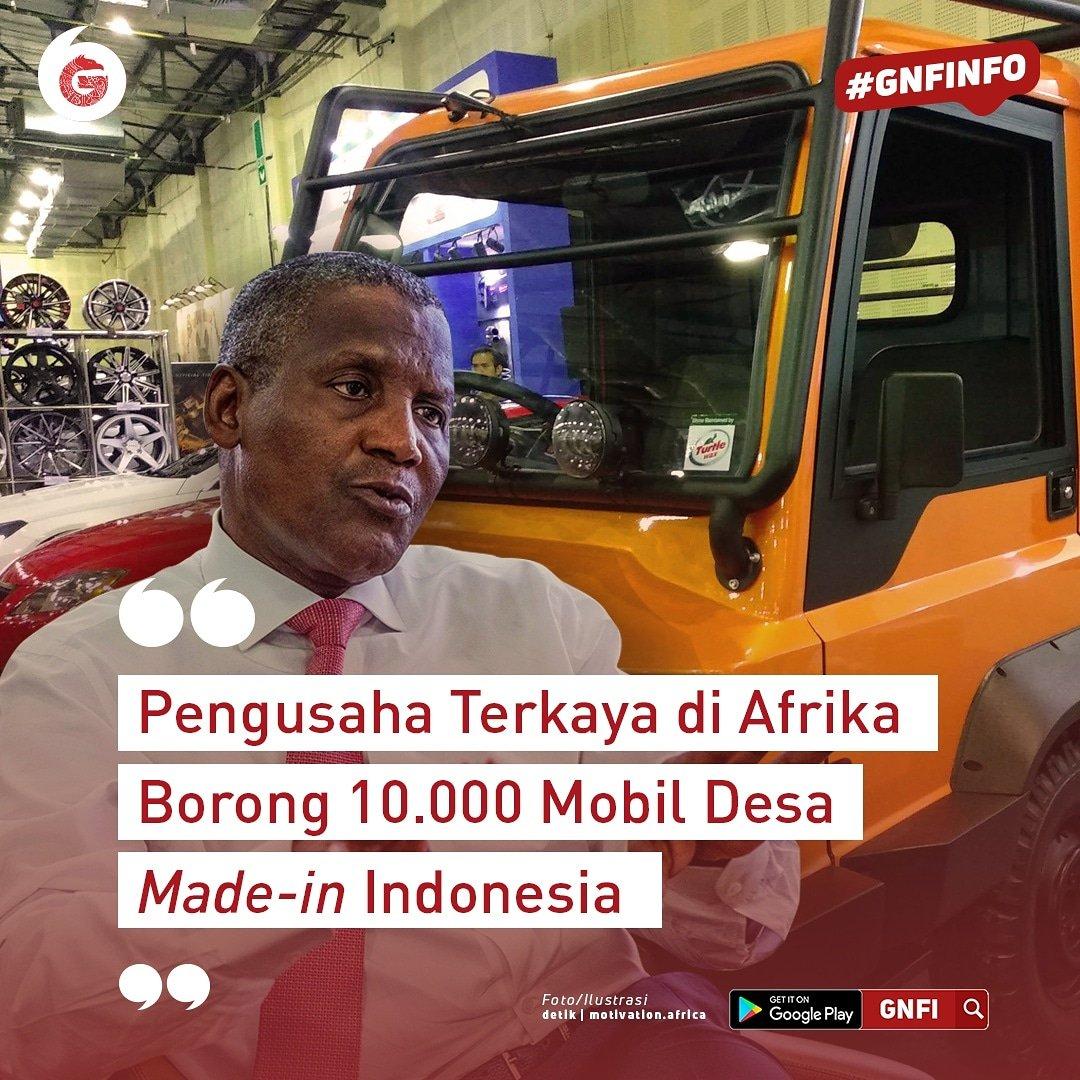 Pengusaha Terkaya di Afrika Borong 10.000 Mobil Desa Made-in Indonesia  Sebanyak 10.000 unit mobil desa akan diborong secara bertahap yang diperkirakan selama 5 tahun ke depan. Mobil pedesaan multiguna buatan Indonesia yang dinamai Alat Mekanis Multiguna Pedesaan (AMMDES). https://t.co/EwBdkYeSf7