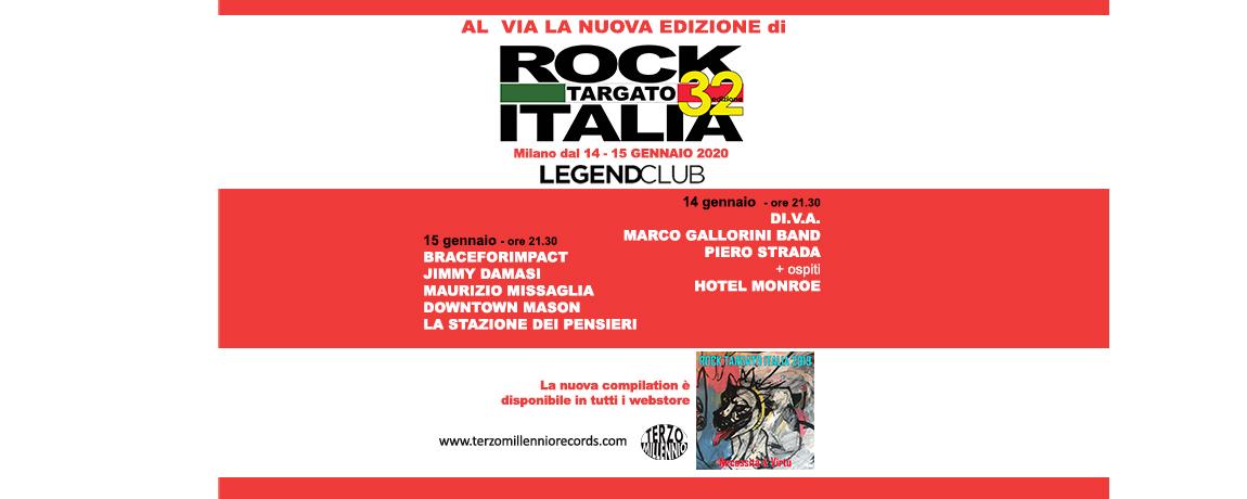 ROCK TARGATO ITALIA 32^ edizione- selezioni regionali Lombardia. 14 e il 15 gennaio, dalle 21 e 30, al @legend_milano.  Band e solisti si contenderanno l'accesso alle fasi successive della manifestazione. @RockTargatoIt  #rocktargatoitalia  #rti32 #musicaemergente pic.twitter.com/8v5KvBO6gM