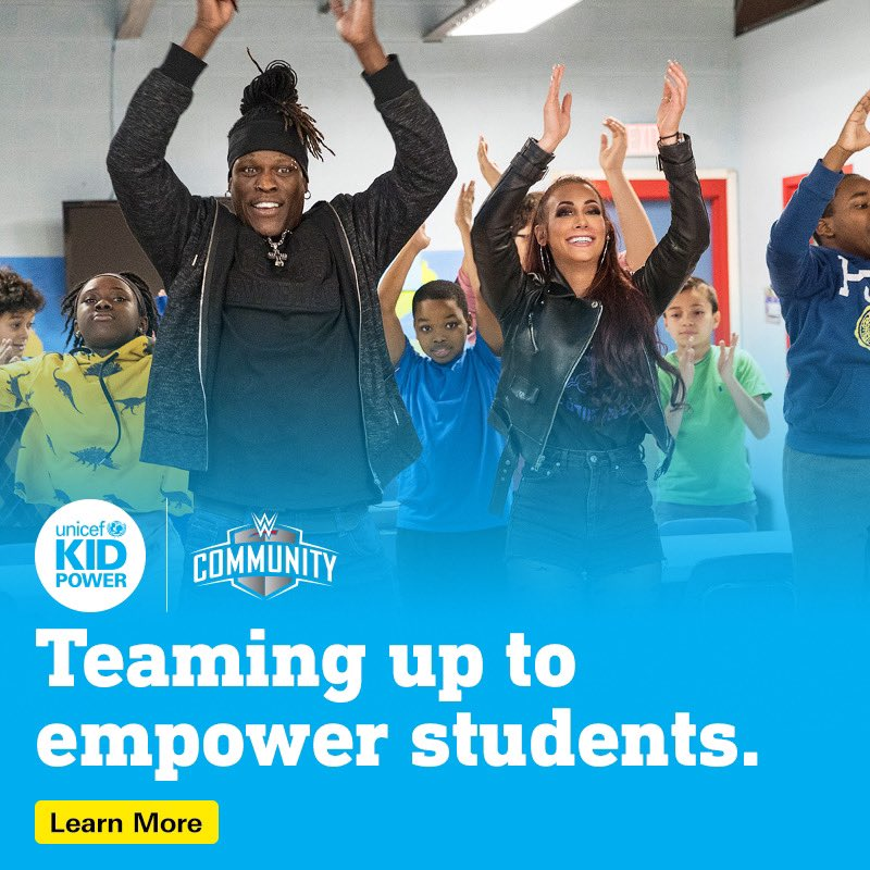 Teachers! Recruit your school with @UNICEFKidPower for your chance to win a $2k grant from @WWECommunity to help make a difference in your school and be named a #CommunityChampion. Learn more about the #RoadToWrestleMania36 Sweepstakes at http://unicefusa.org/WM36