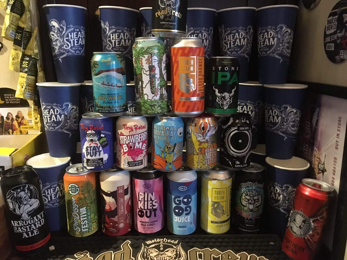 We like our beers, any there that takes your fancy?  #headofsteamhuddersfield #cameronsbrewery #headofsteam #toothandclaw #s43 #shindigger #brewyork #tinyrebel #beavertown #roadcrew #beerme #craftbeer https://t.co/Mnfkdjso9q