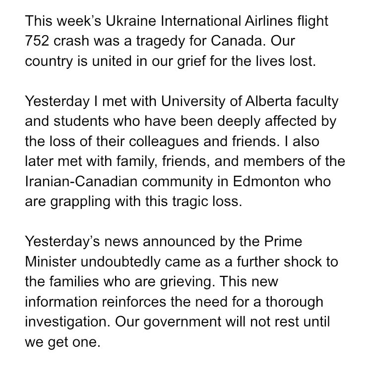 A statement from me on the fatal plane crash in Iran.
