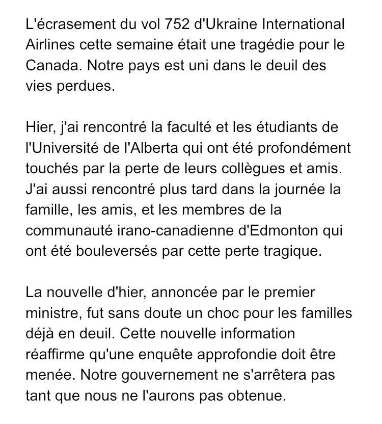 Une déclaration de ma part sur l'accident d'avion mortel en Iran.