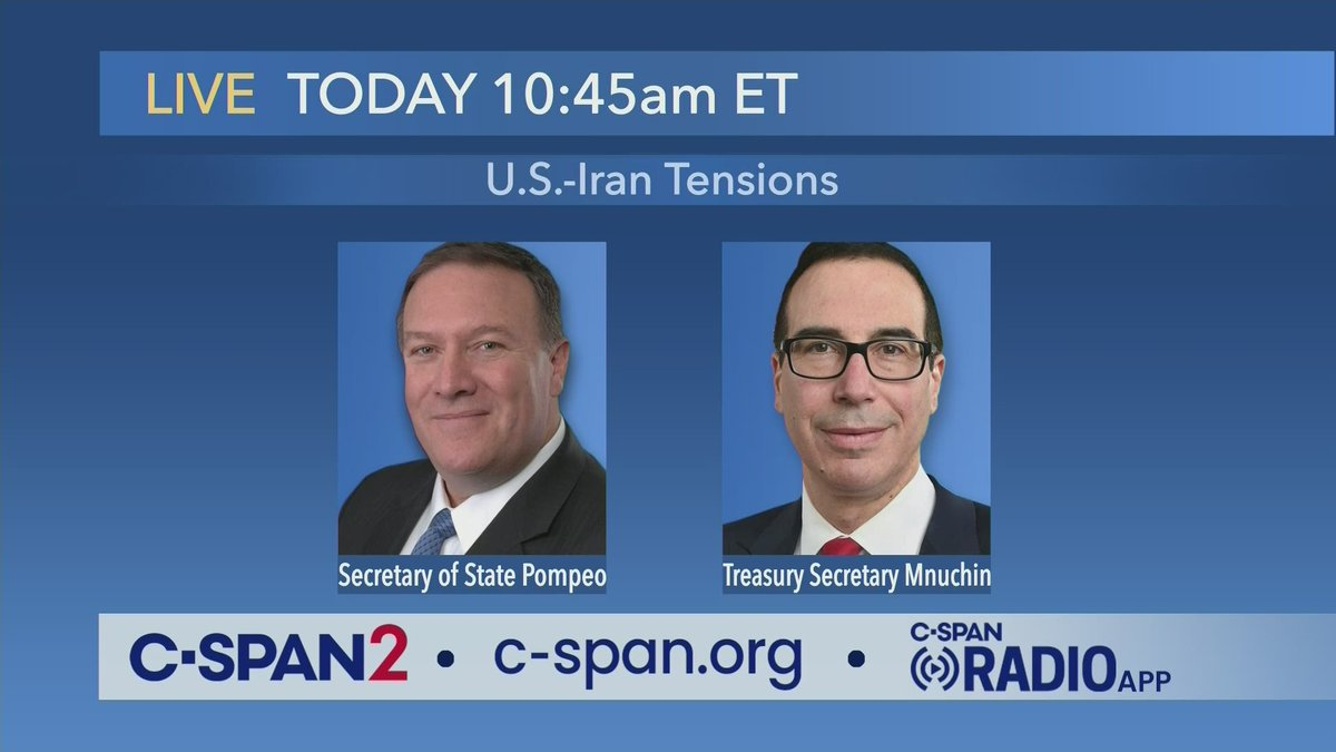 White House Press Briefing with @SecPompeo & @stevenmnuchin1 – LIVE at 10:45am ET on C-SPAN2 cs.pn/2sVLRN2