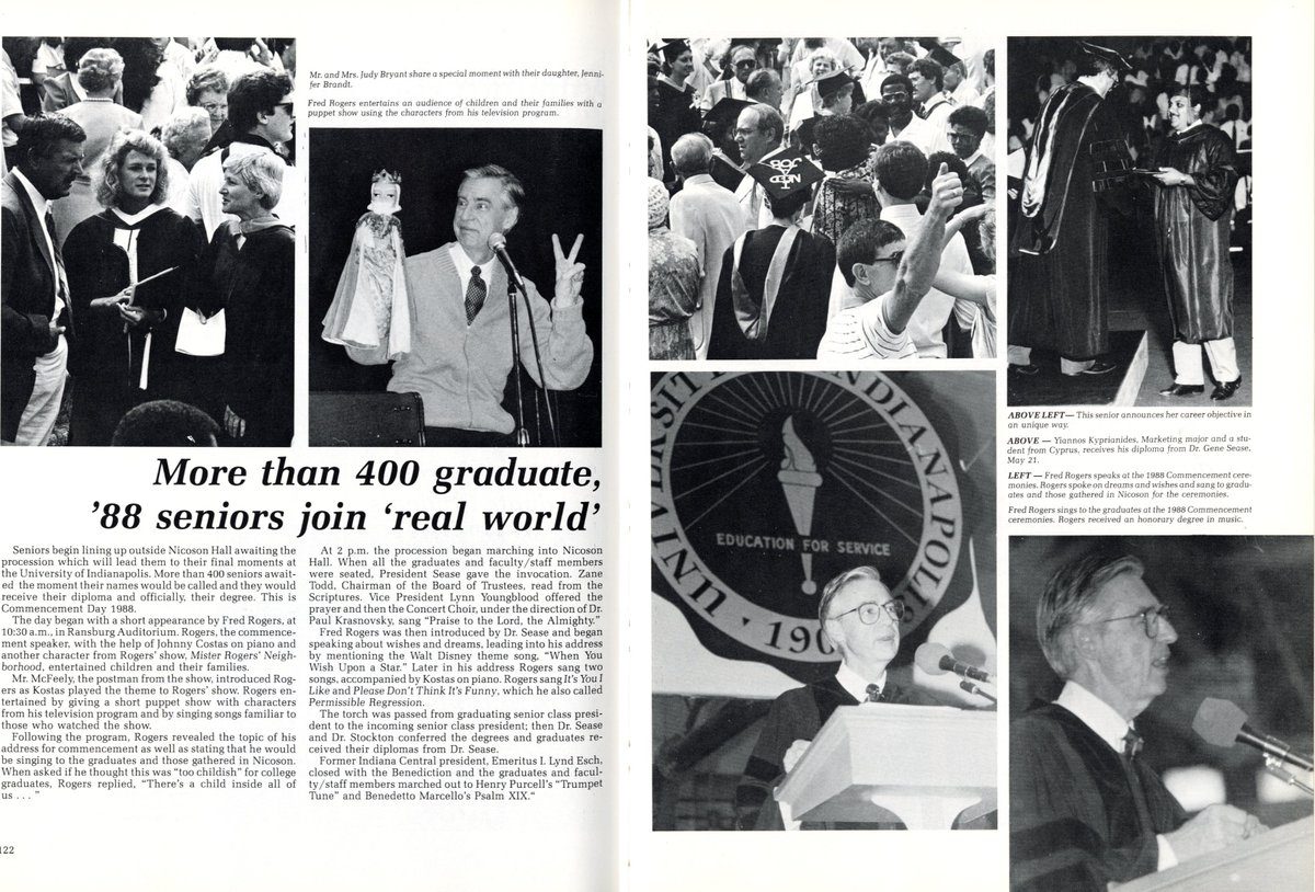 Univ Of Indianapolis On Twitter Did You Know That 1988 S Commencement Speaker Was Mister Rogers Himself A Friend Of Former Uindy President Dr Gene Sease Fred Rogers Performed For Graduates And Even