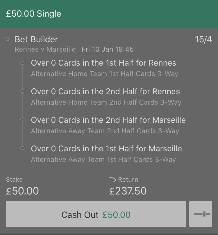 Exact same bet tonight, french games are notoriously low for cards hence the bigger price but this ref has some of the highest stats in the league and this bet landed in 5 of his last 9 games. Also Marseille rank 1st for yellows in Ligue 1 with Rennes middle of the table. <br>http://pic.twitter.com/KemZuw1TPO