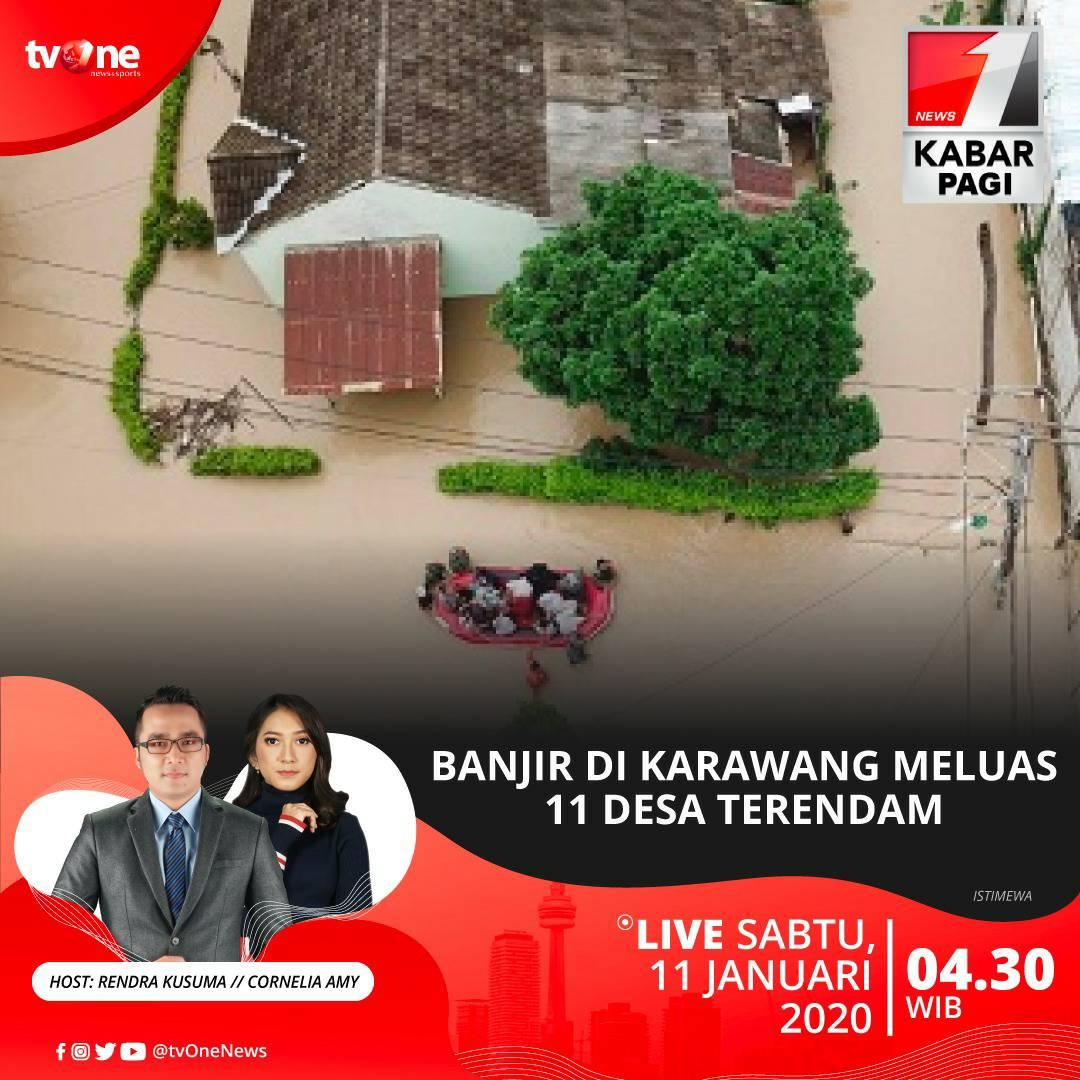 Banjir di Karawang meluas 11 desa terendam. Saksikan Kabar Pagi Sabtu 11 Januari 2020 jam 04.30 WIB hanya di tvOne & streaming tvOne Connect, android http://bit.ly/2EMxVdm & ios http://apple.co/2CPK6U3. #KabarPagitvOne