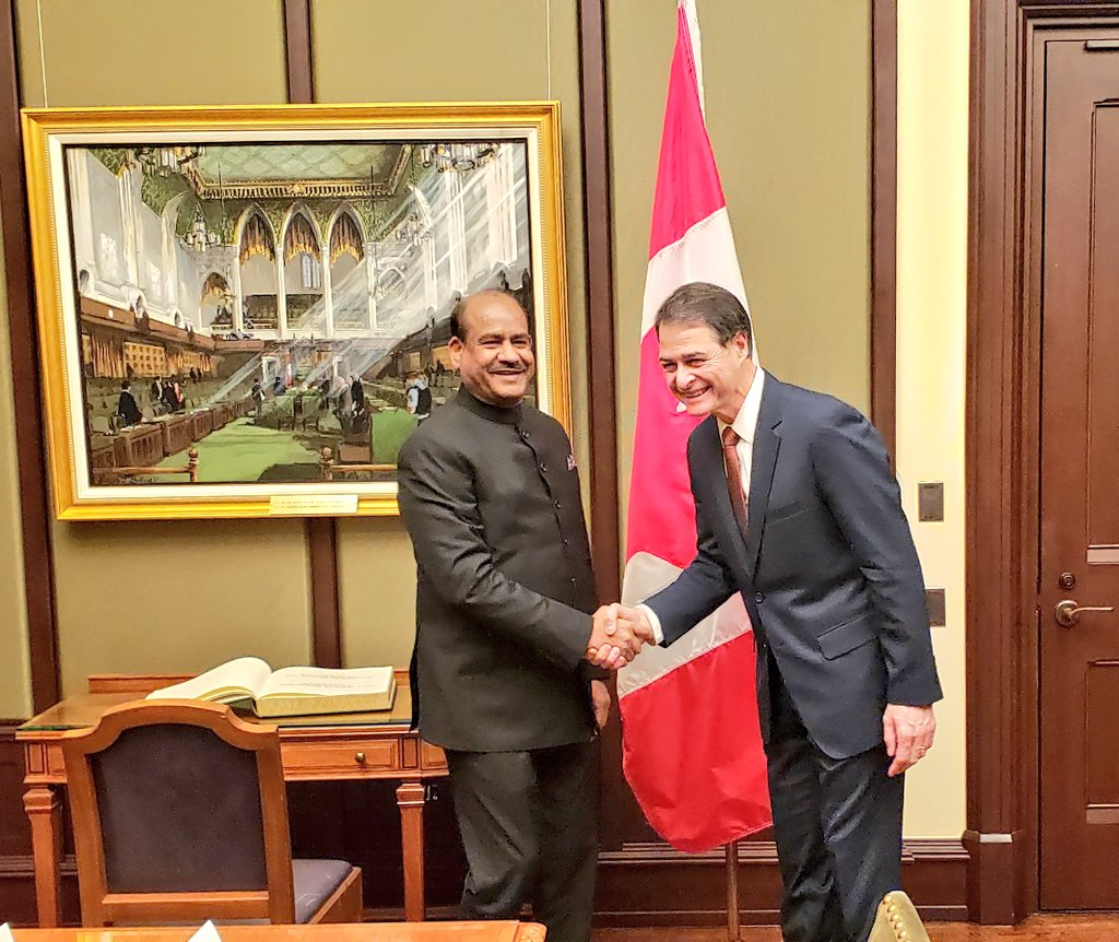 Building on shared Parliamentary traditions, Speaker of Lok Sabha @LokSabhaSectt Shri Om Birla @ombirlakota met Speaker of the House of Commons @OurCommons @AnthonyRota to further inter-parliamentary cooperation to foster deeper India-Canada economic and political ties. – at Parliament of Canada - West Block