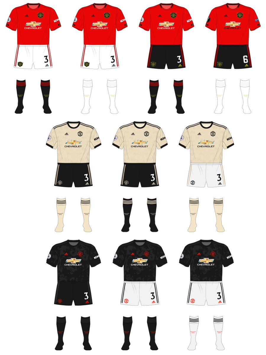 Museum Of Jerseys On Twitter Ten Combinations So For This Season For Manchester United No Crossover Between Any Kits Meaning Three Separate Sets Of Black Shorts And Black Socks As Well As