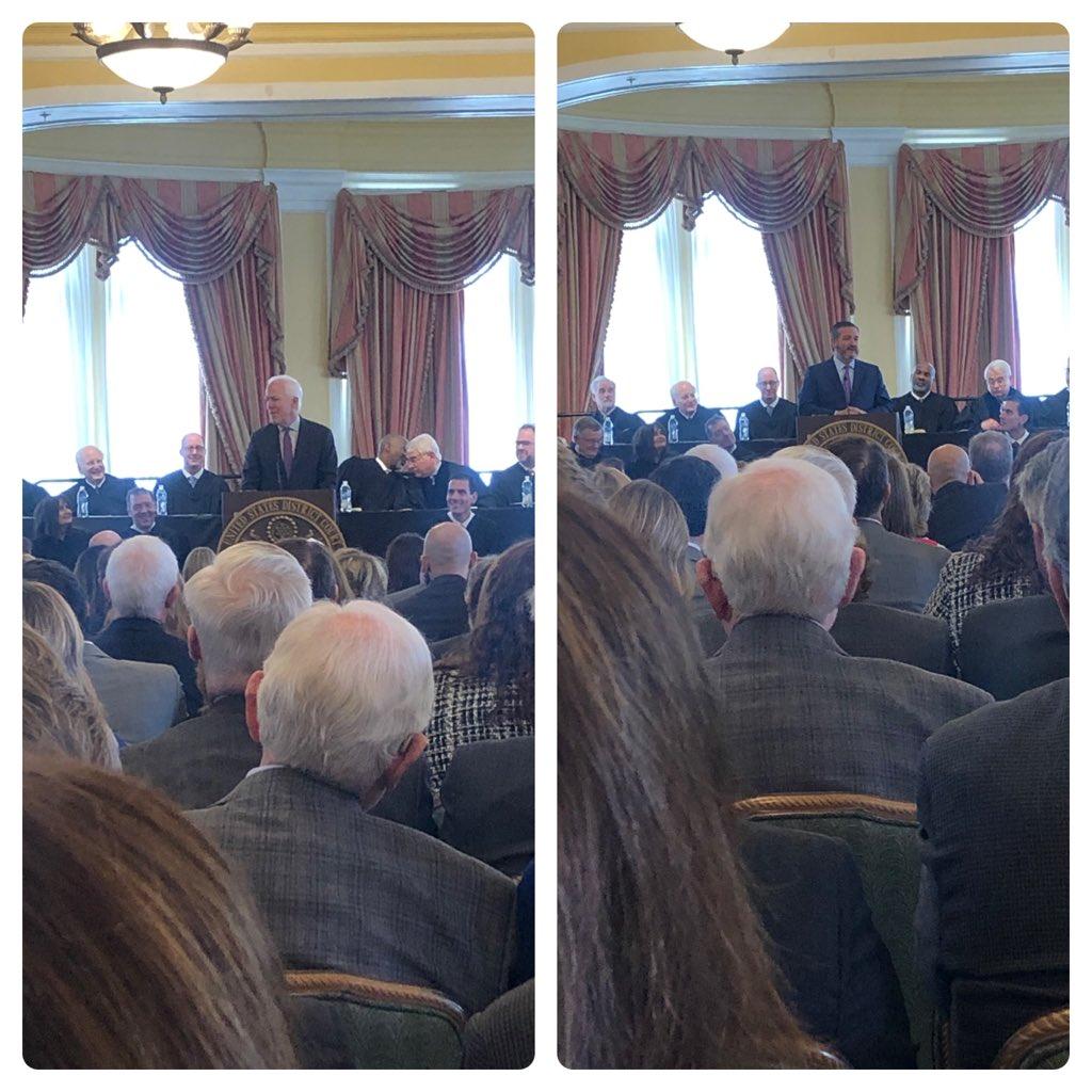 Senator @JohnCornyn and Senator @tedcruz gave remarks at Judge Jeff Brown's investiture. #txlege #Galveston