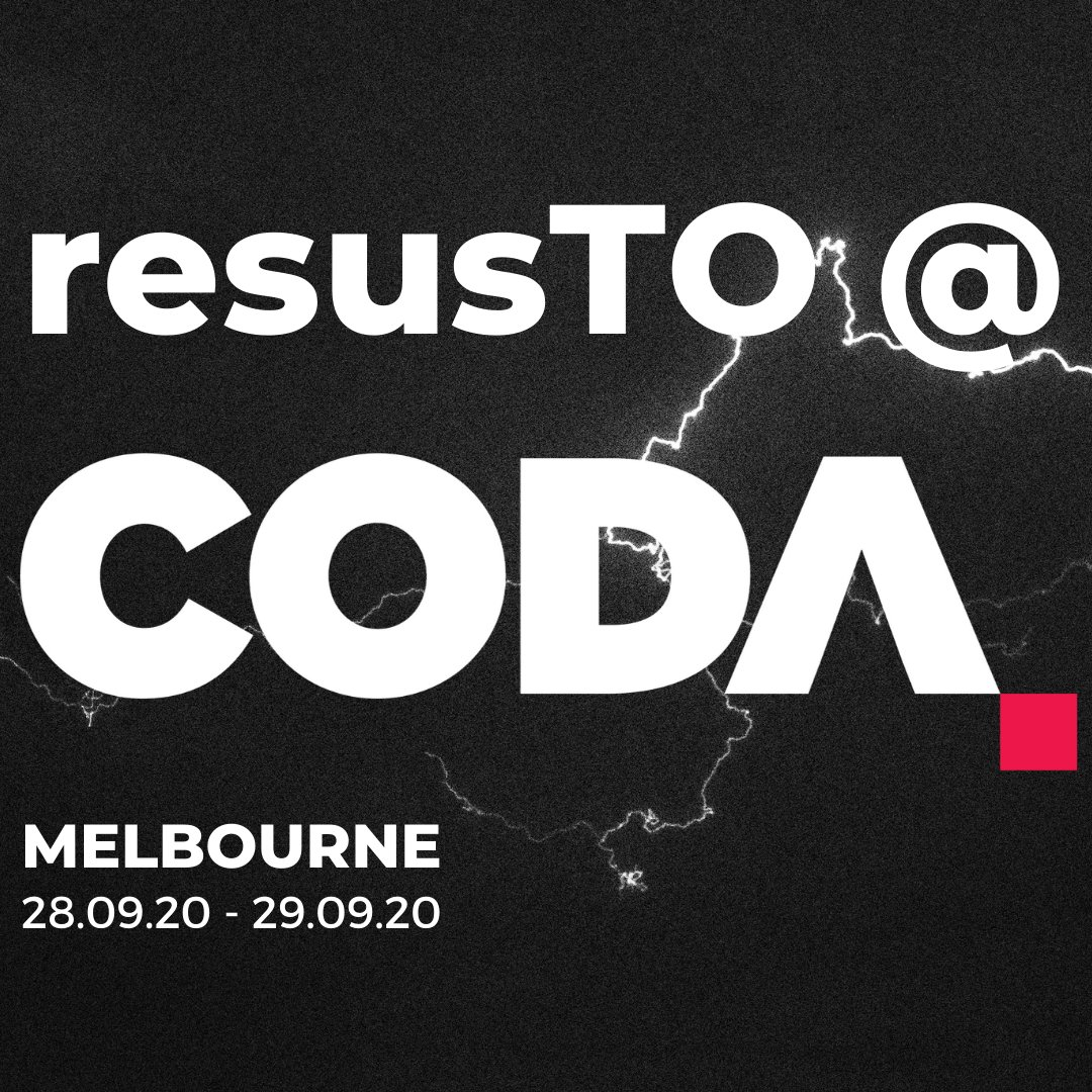 You heard right: #resusTO is coming to CODA in 2020 The Alfred Hospital Melbourne, Aus 28.09.20 - 29.09.20 Same #resusTO experience, with the dial turned to 11 Details and full program soon @ resus.to Meantime, visit codachange.org
