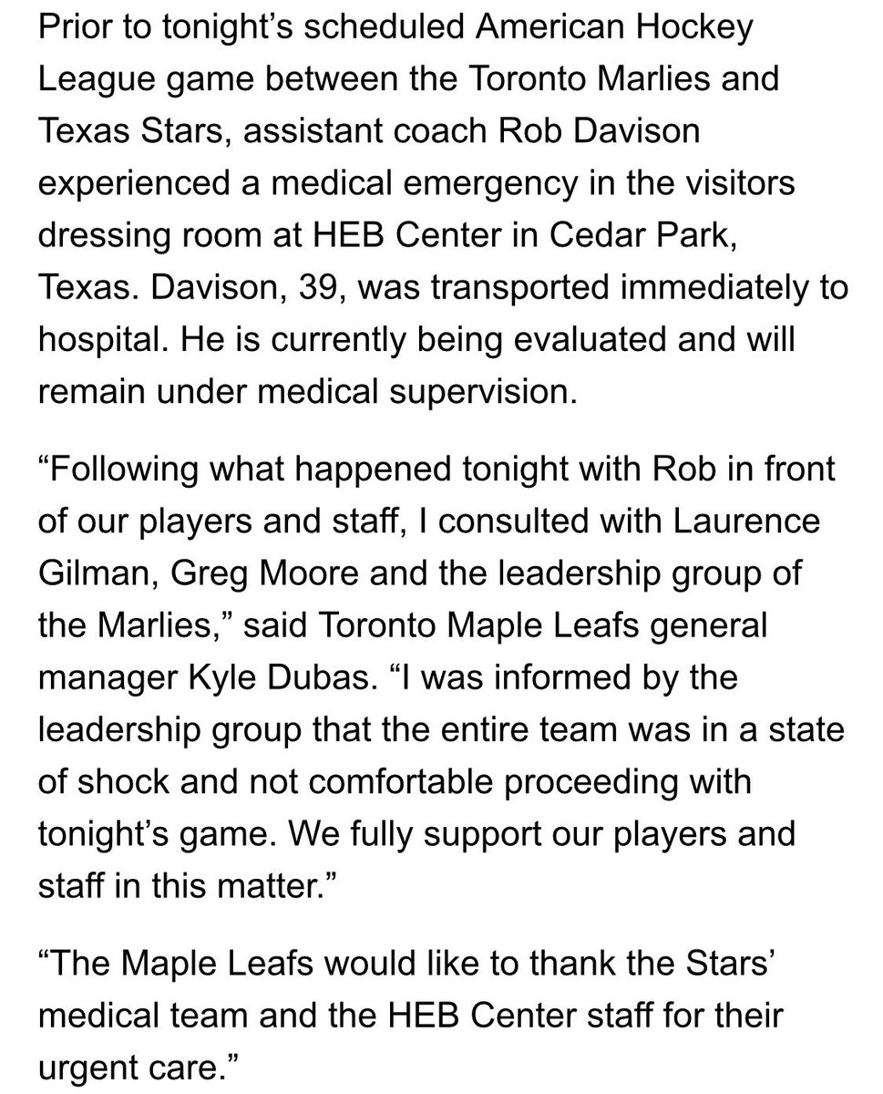 Maple Leafs statement following @TorontoMarlies medical emergency in Austin, Texas: