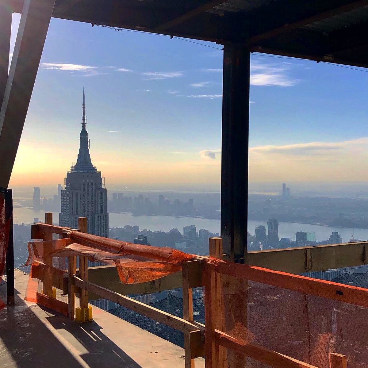 So that was a first! A great experience today visiting a skyscraper still under construction! This is the view 1,100 feet above Manhattan from @one_vanderbilt which opens later this year!