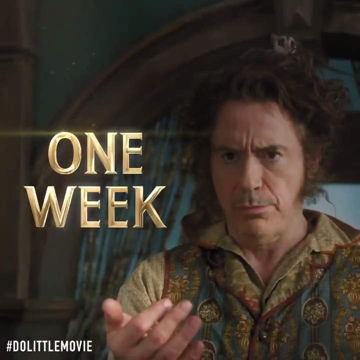 One week, but who's counting? That's right... we absolutely are. @DolittleMovie in theaters January 17th. #Dolittle
