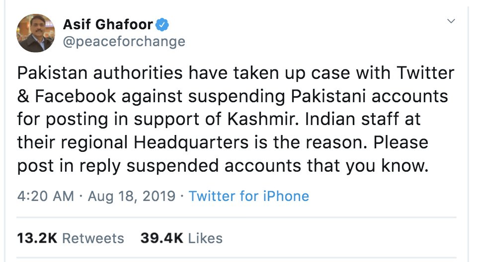 Pakistan takes even propaganda seriously. With its limited power still able to bring Twitter to account. India has much more power. But it takes no steps even against Twitters blatantly anti-FOE behavior and shadow banning of India-friendly accounts. @rsprasad @narendramodi