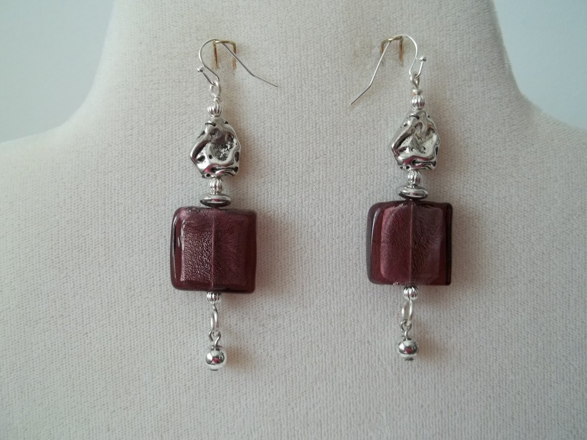 Excited to share the latest addition to my #etsy shop: Murano Glass Square Earrings  #jewelry #earrings #brownearrings#glassearrings#womenjewelry #silverearrings #squareearrings#handmadejewelry#etsyjewelry#fashionjewelry #handmadejewelrysale