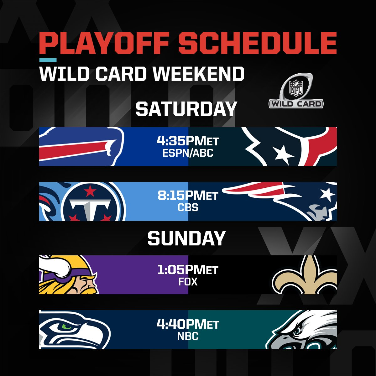 Nfl On Twitter Wild Card Weekend Nflplayoffs Weready