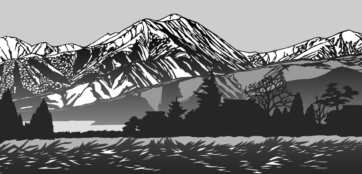 切り絵で描いた常念岳 田んぼの土手から眺めました。 #北アルプス #山好き #切り絵 #安曇野 #美術 #アート #山岳風景 #山岳 #登山 #山好き https://t.co/uA5Ov0j0pR