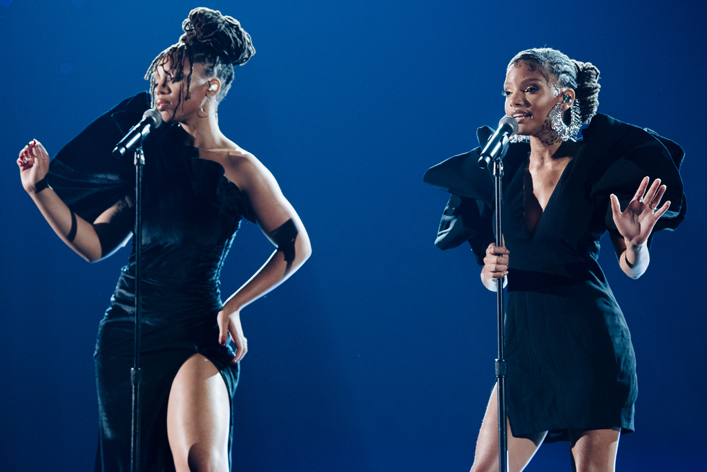 """The same year @ChloexHalle earned their first two career GRAMMY nominations, the sister duo took to the stage with a stripped-down performance of  """"Where is the Love"""" at the 61st GRAMMYs:  #GRAMMYVault"""