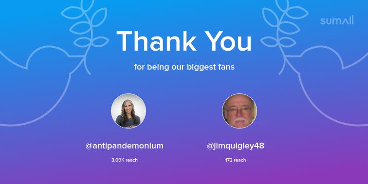 Our biggest fans this week: antipandemonium, jimquigley48. Thank you! via https://sumall.com/thankyou?utm_source=twitter&utm_medium=publishing&utm_campaign=thank_you_tweet&utm_content=text_and_media&utm_term=ac904eb963affa56930780df…