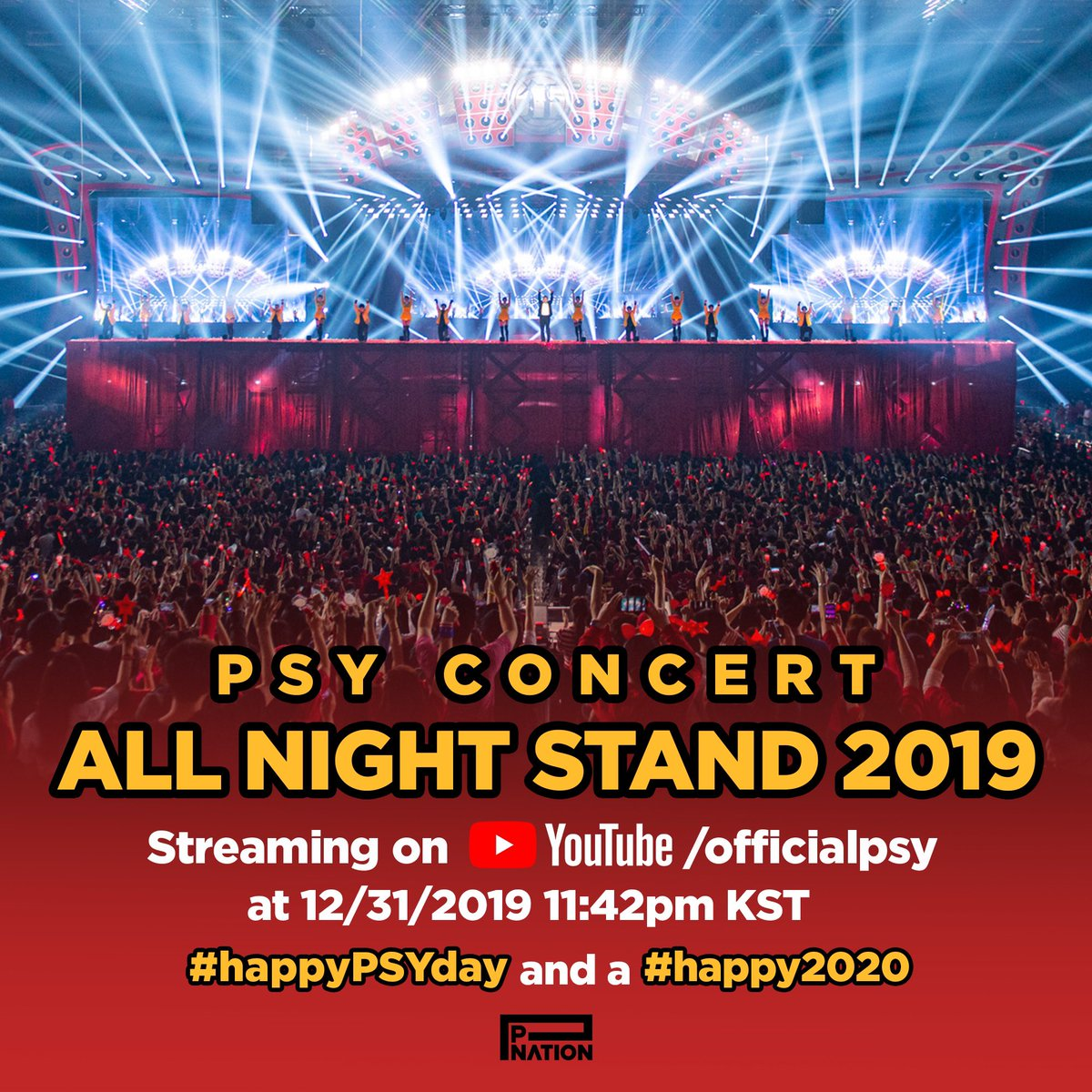 PSY CONCERT ALL NIGHT STAND 2019 Streaming on YOUTUBE/officialpsy at 12/31/2019 11:42pm KST #happyPSYday and a #happy2020 #12시부터생일축하받습니다🥳 #acceptingBDAYconratsfrom12am🥳