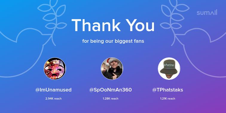 Our biggest fans this week: ImUnamused, SpOoNmAn360, TPhatstaks. Thank you! via