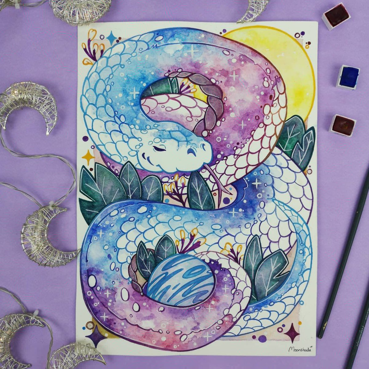 Good evening everyone  I hope that you have had a lovely couple days over the festive period! Here is a Galaxy snake I painted over the holidays  #snake #snakes #animalart #animalillustration #reptiles #galaxyanimals #galaxy #galaxywatercolor #stars #moon #traditionalartpic.twitter.com/mIwGX3dz9d