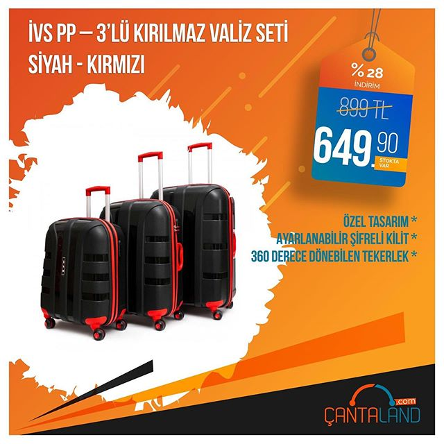Stok Kodu: İ-PP-002-SKI-S İVS %100 Polipropilen Kırılmaz Maddeden Üretilen 3'lü set valiz çeşitli renkleriyle Çantaland stoklarında sizlerle.  #valizler #valiz #bavuldergi #bavul #seyahatçantası #çantacı #çantam #çantalandpic.twitter.com/gXm0w8lUCQ
