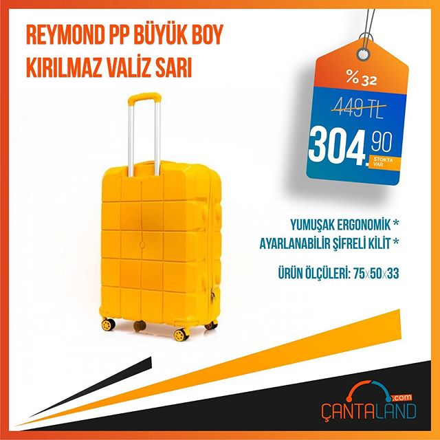 Stok Kodu: R-PP-001-SA-B  Reymond %100 Polipropilen kırılmaz madeden üretilen büyük boy valiz, çeşitli renkleriyle Çantaland stoklarında sizlerle  #valizler #valiz #bavuldergi #bavul #seyahatçantası #çantacı #çantamodası #çantadünyası #çantam #çantaland #indirimvarpic.twitter.com/qwn9E4kMi1