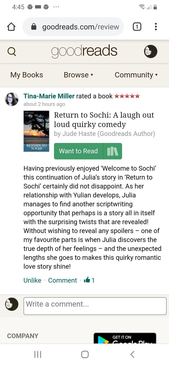#thankful for the #Review from author @tinseymiller #happynewyear2020 5* 🇬🇧 amazon.com/Return-Sochi-l… #UK #contemporary #comedy #NewYearsEve #NewYear amazon.co.uk/Return-Sochi-l…