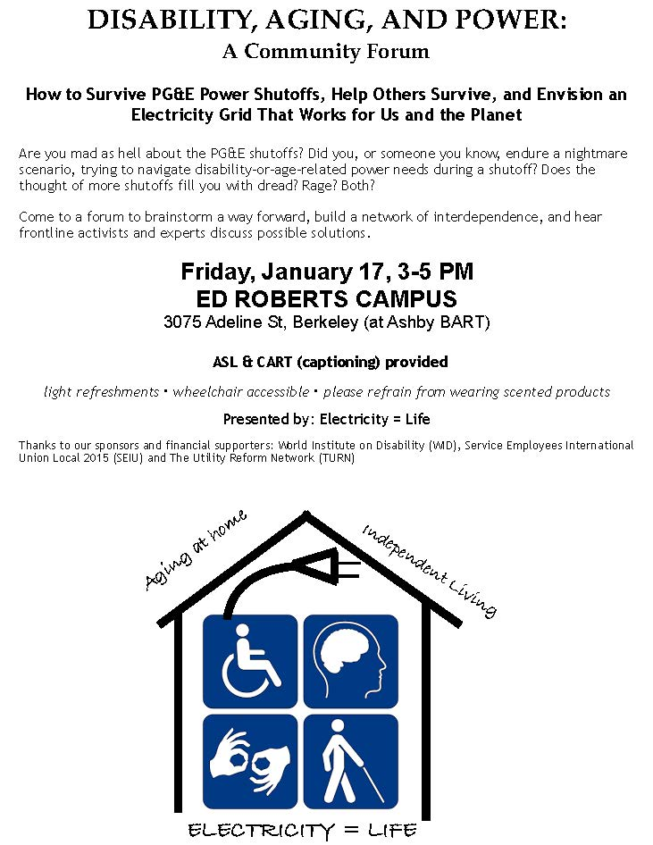 PG&E: Disability, Aging and Power - Envision a Grid That Works for Us and the Planet @ Ed Roberts Campus