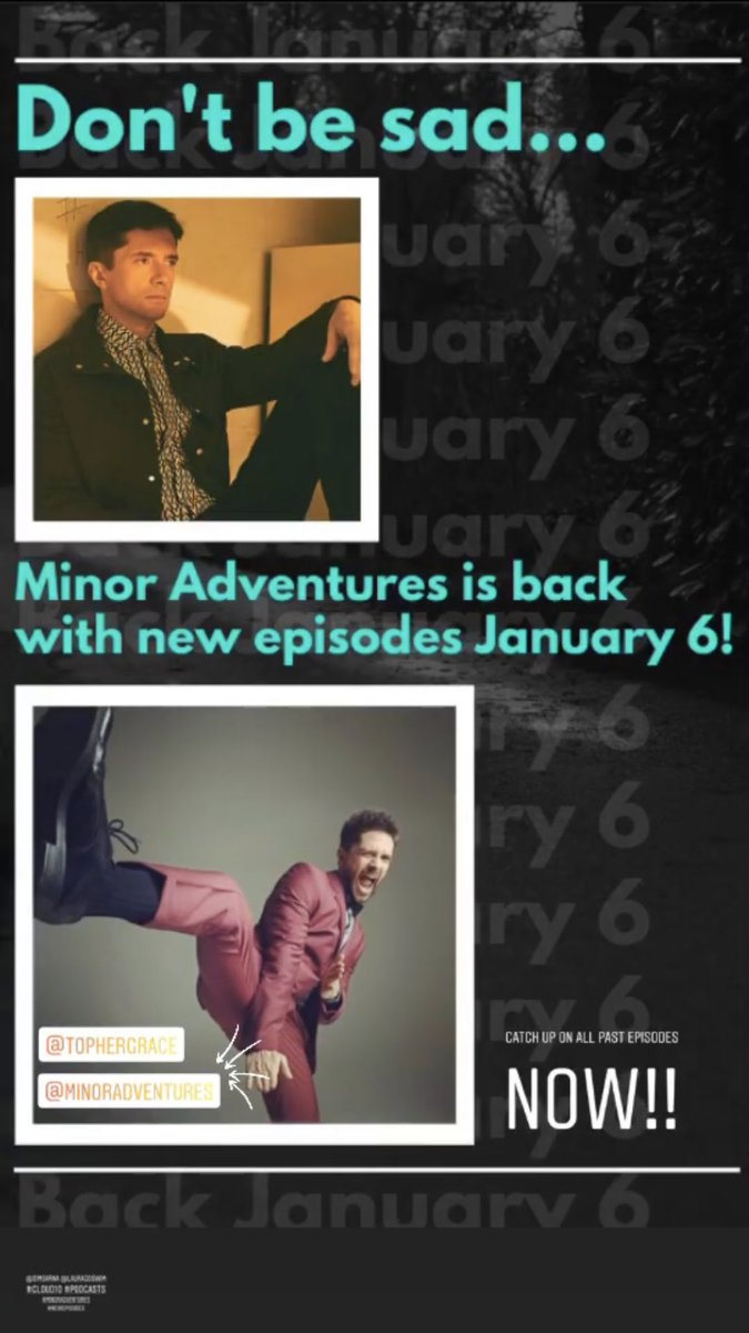 @MinorAdventures is back with #new #episodes January 6🙌🏼💙🎙@TopherGrace @SimSarna #cloud10 #podcasts