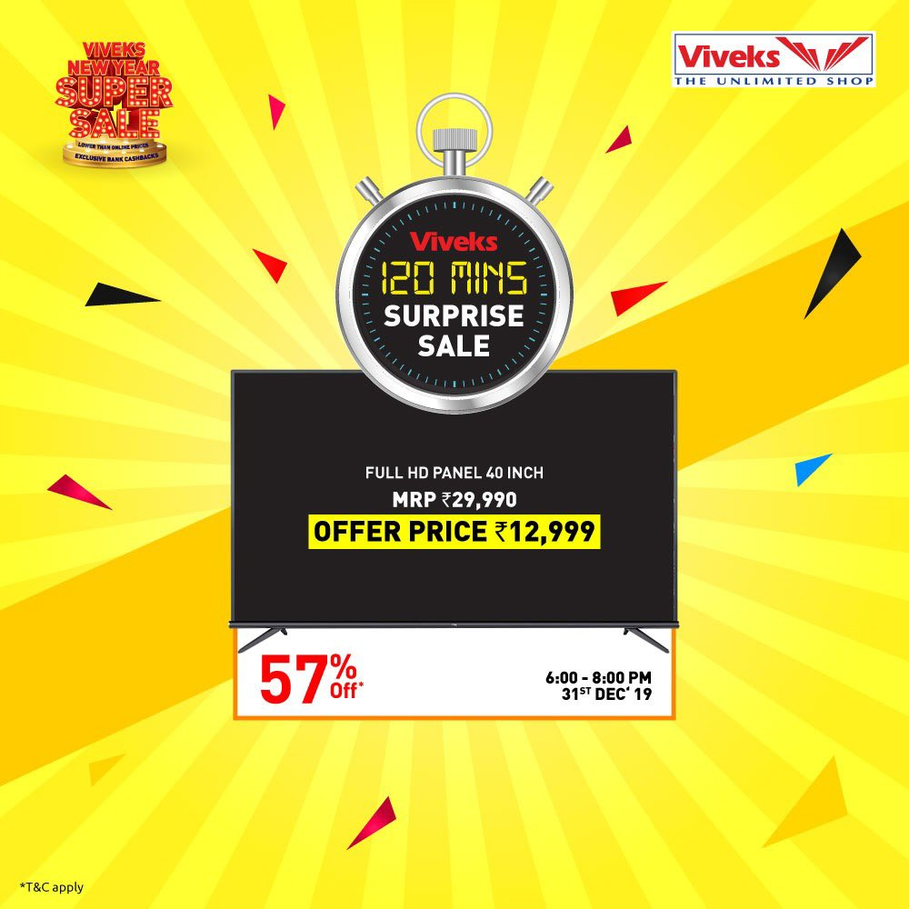 Got new year plans?Yes?Postpone it for some time later because Viveks has announced its largest sale ever!Look at all these products at incredible prices.I can't wait to grab all these products.Come join me at Viveks tomorrow from 6:00pm-8:00pm for the Surprise sale!#nammaviveks pic.twitter.com/P7y9jiPEJv