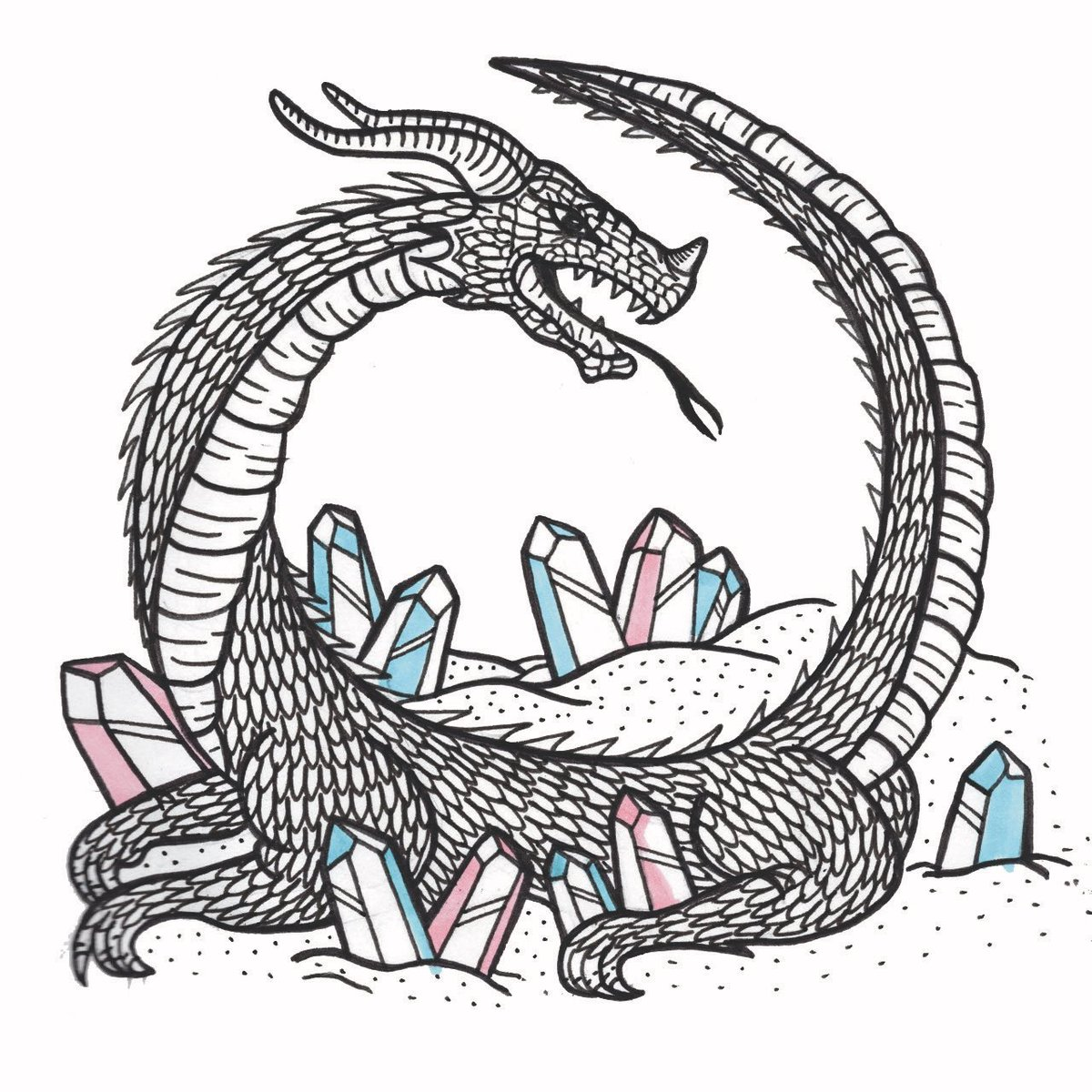 On the lounging dragon and its crystals. #crystals #drawing