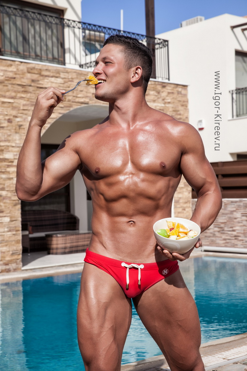 Hot naked muscle guys by pool