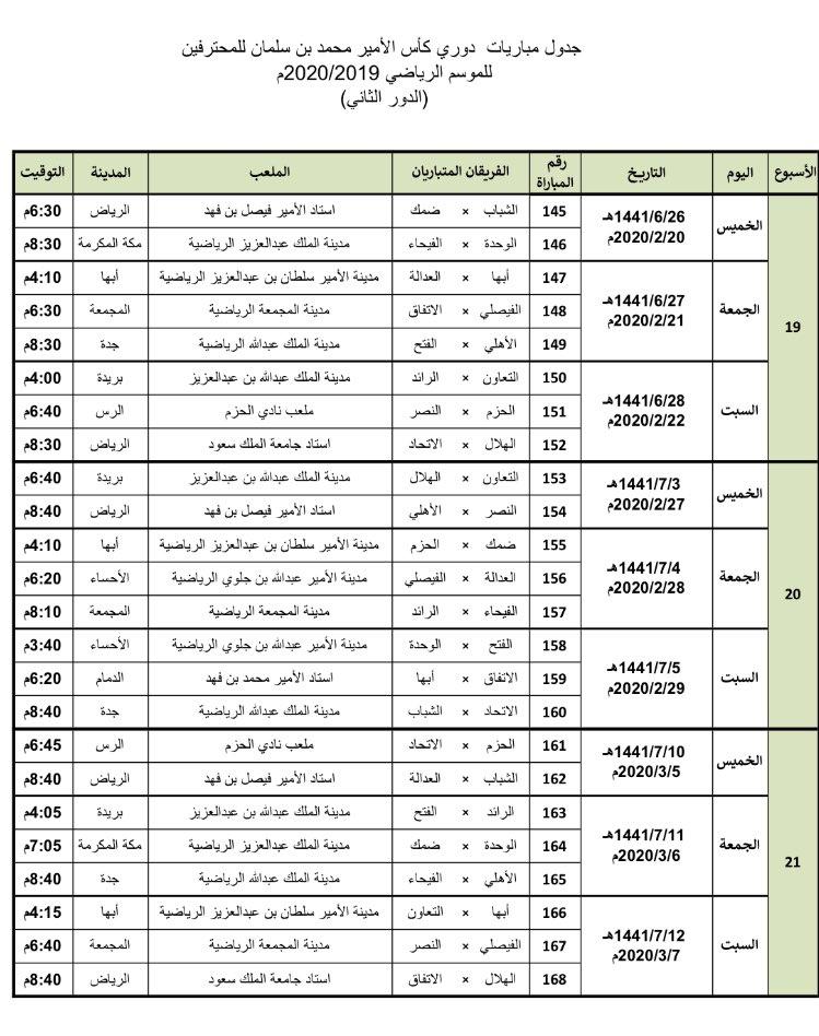 جدول دوري Mbs للمحترفين الدور الثاني 2019 2020