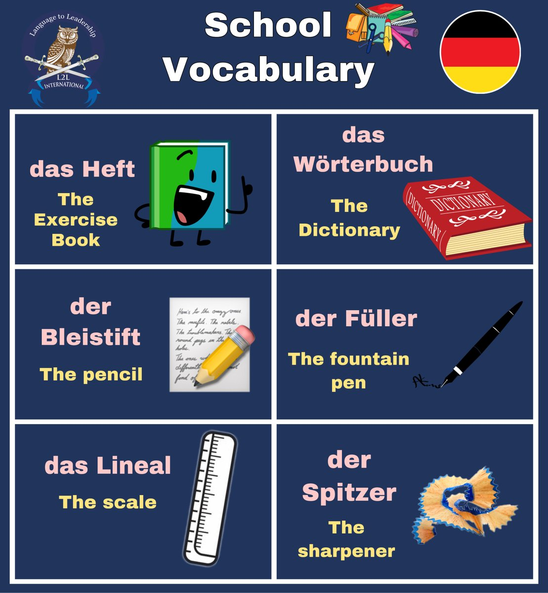 Learn School Vocabulary in German Language! #vocabulary #school #germanvocabulary #pencil #book #dictionary #pen #scale #sharpener #germangrammar #german #germany #germanlanguage #language #europe #germanoftheday #germanword #grammar #wortschatz #deutschlernen #deutschesprachepic.twitter.com/wtbDcNVmdi