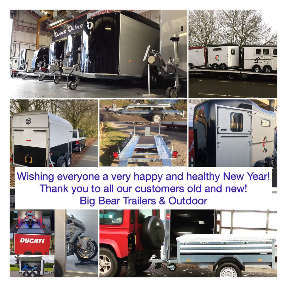 Wishing everyone a very Happy New Year! We reopen on the 2nd January and look forward to seeing you then. Best wishes from all of us at the Big Bear Trailers & Outdoor Team #anssems #brenderup #chevalliberte #chevalliberté #debontrailers #nugenttrailers #woodfordtrailerspic.twitter.com/FKp0DfHNB5