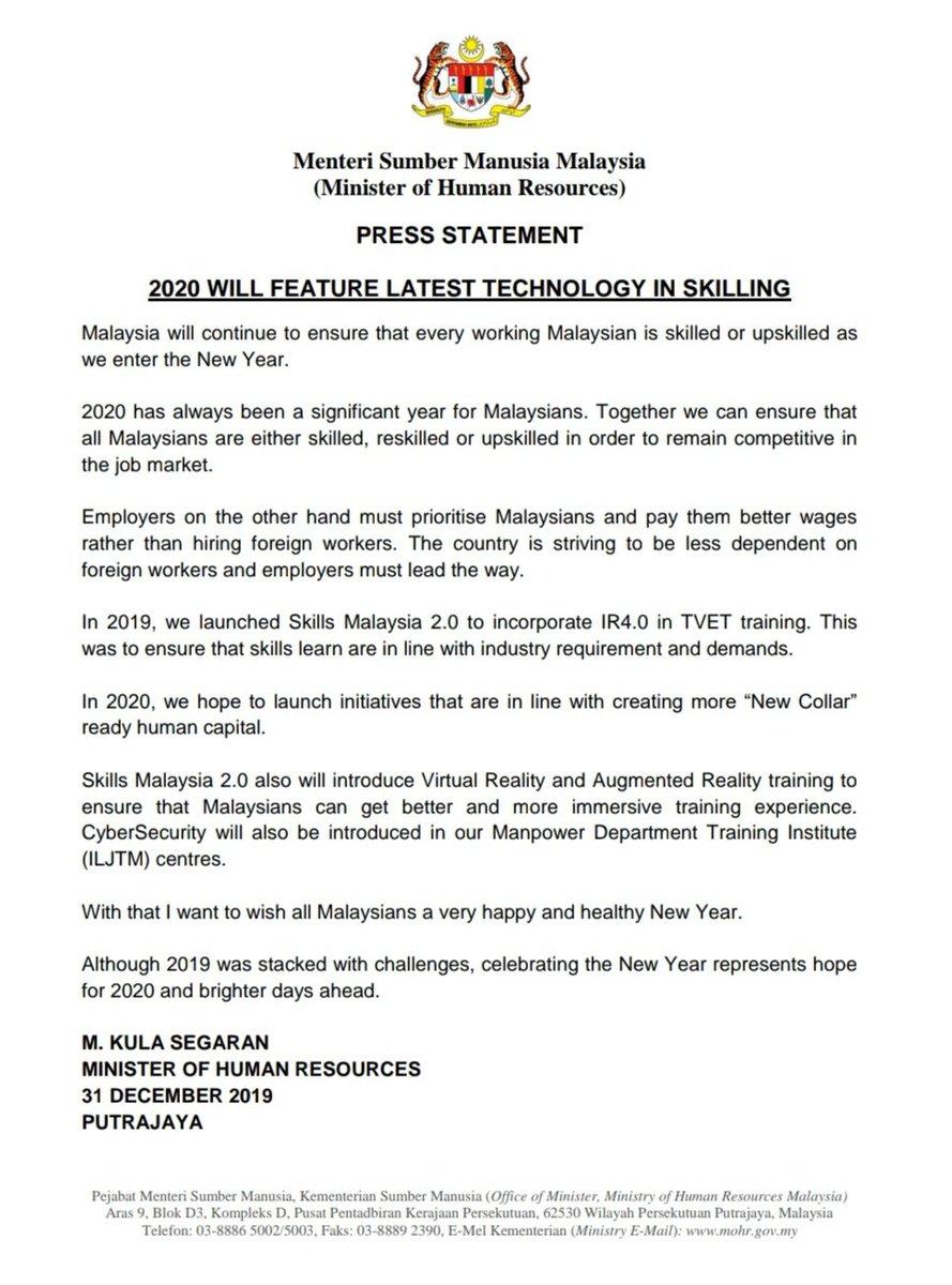 M Kula Segaran On Twitter 2020 New Year Address