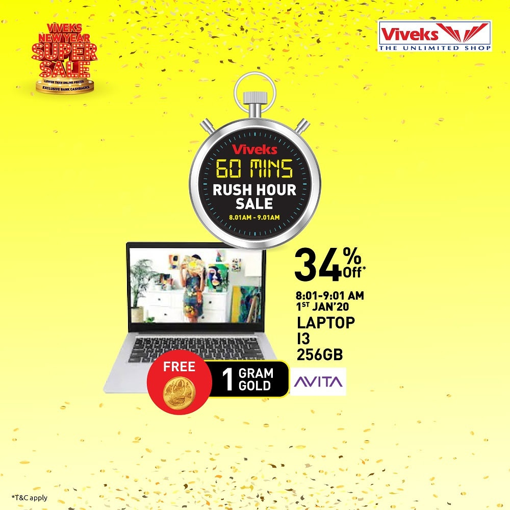 Guess what's on the top of my list for New Year? To buy electronics for low  prices from Viveks tomorrow morning during the rush hour sale from 8:01 am -  9:01 am.  @viveksindia  #nammaviveks #betheinfluencerpic.twitter.com/LEHBMrTEmh