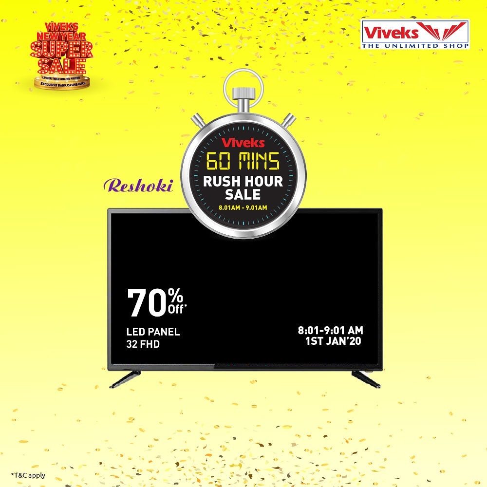 I am going to bed early tonight because there are some exciting deals and  offers during the Viveks rush hour sale tomorrow morning from 8:01 am - 9:01  am. Have to wake up and start hustling to buy these products.  @viveksindia  #nammaviveks #betheinfluencerpic.twitter.com/DUA5WE9o9B