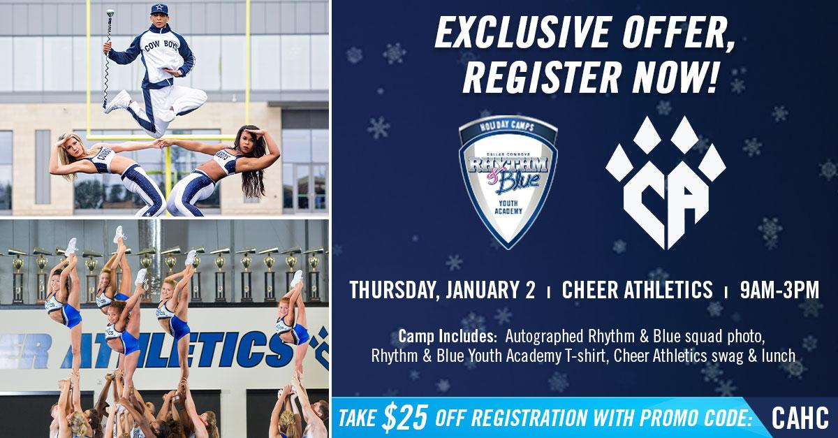 Join us this holiday season for a 1️⃣-day Dallas Cowboys Rhythm & Blue Youth Cheer Academy! Learn fundamentals from current @DCRhythmBlue members. Camps are available to dancers of all skill levels, ages 6-18. 🙌 For more info or to book your spot → bit.ly/2QcM9I5.