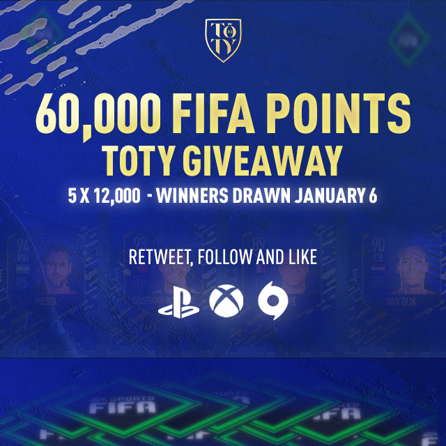 60,000 FIFA POINTS giveaway for the upcoming FUT #TOTY event, Retweet, Follow and Like to Enter! We will randomly pick the winners Monday 06/01 around 5 pm UK time #FIFA20  Happy New Year🍾🙌