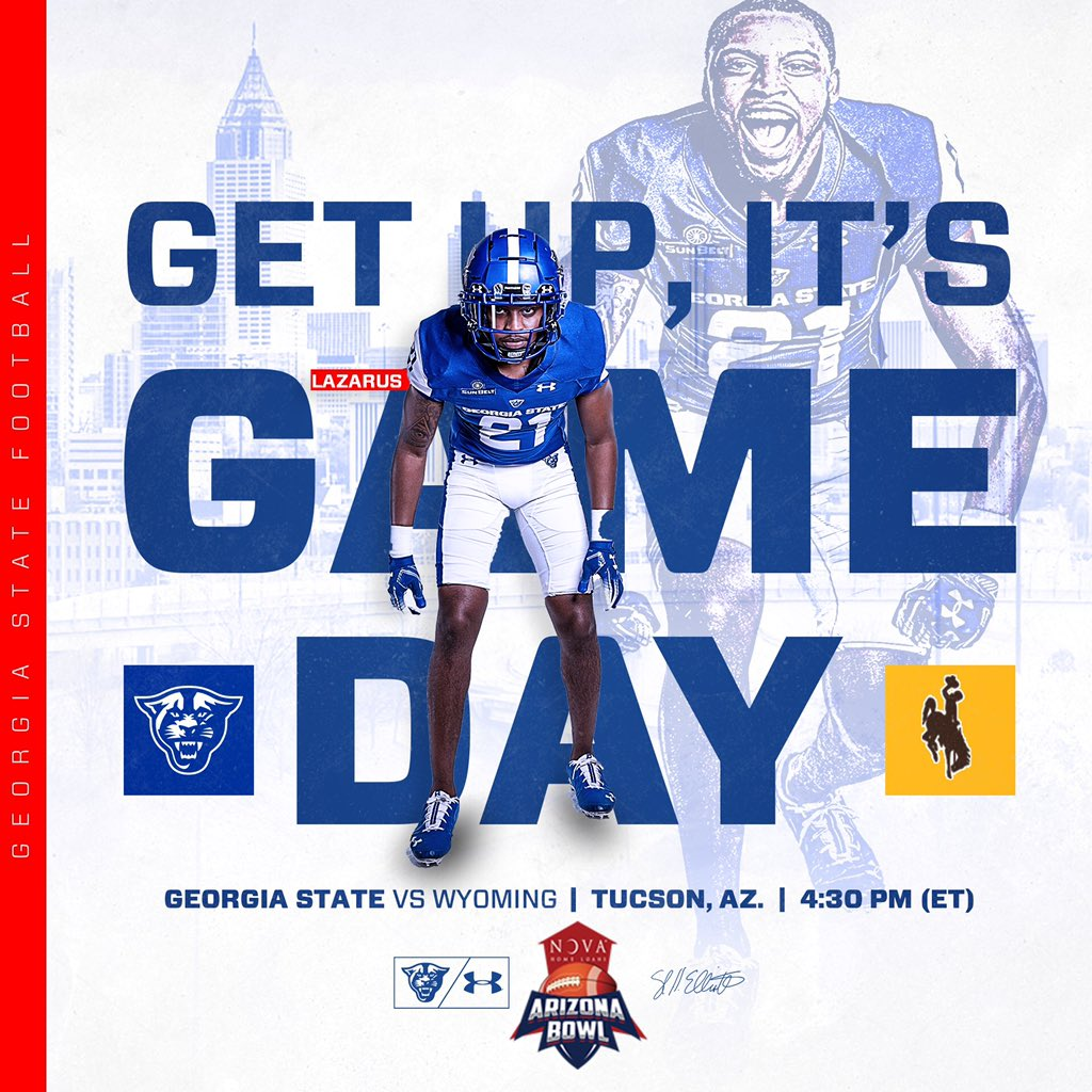 ITS GAMEDAY!  @GeorgiaStateFB vs. Wyoming in the @novaAZBOWL at 4:30 pm ET on CBS Sports Network, 92.9 The Game and 88.5 WRAS.   #LetEmKnow <br>http://pic.twitter.com/4t2XAyyhl8