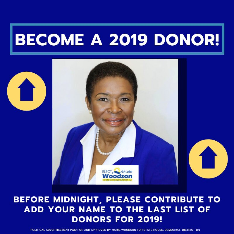 As 2019 comes to an end, I need your support more than ever to close the year strong. Please consider making a donation to our campaign before midnight. I am counting on your support. Have a wonderful and blessed New Year!!  https://www.mariewoodson2020.com/