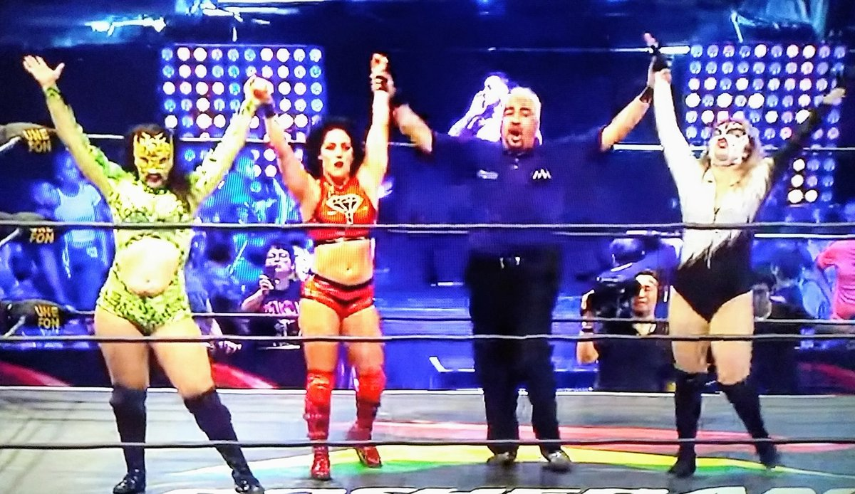 On August the 3rd, I stayed up throughout the night to watch @AAA #TriplemaniaXXVII on Twitch The charged show notably offered a 7-woman TLC bout that featured a scary accidental bump from @chiktormenta and a title victory for @Tess_Blanchard  6/10