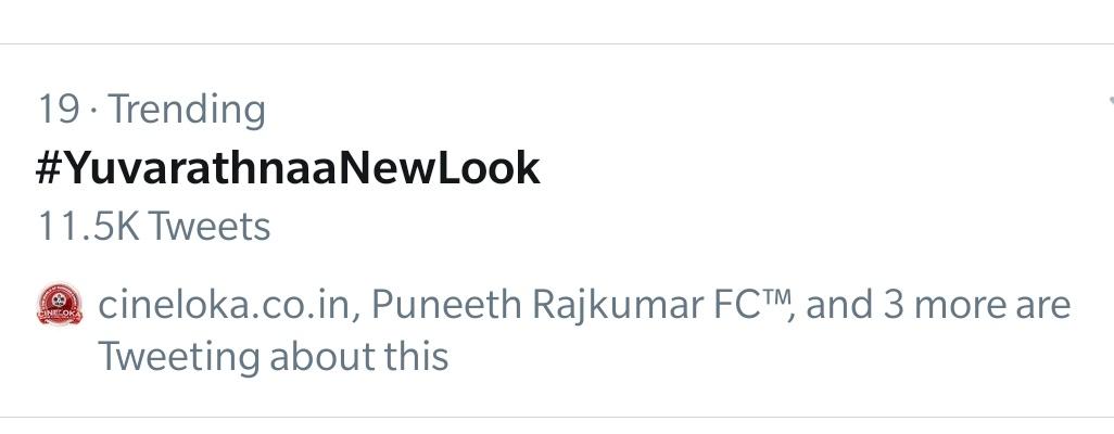 #YuvarathnaaNewLook trending in India   @SanthoshAnand15 @Karthik1423 @hombalefilms @VKiragandur @PuneethRajkumar