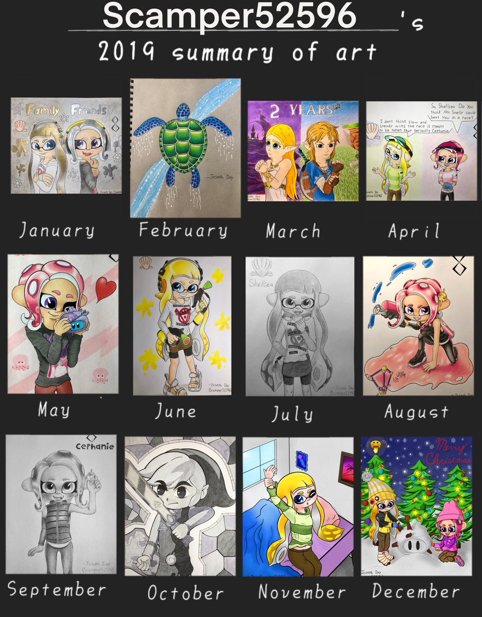 Saw some people doing this, so I figured I'd jump on the bandwagon. Here's a summary of art I made in 2019! Went through a lot of practice and improvement, and I'm hoping to continue improving in the year to come. Have a Happy New Year, everyone!