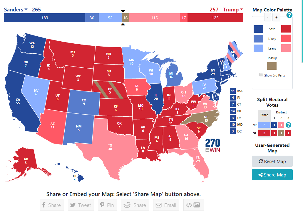 Picture of: Political Polls On Twitter 2020 Electoral Map Based On Rcp Average Polls Biden 322 Trump 166 Tossups 50 Sanders 265 Trump 257 Tossups 16 Trump 257 Warren 251 Tossups 30 Https T Co Vc3k9avat7