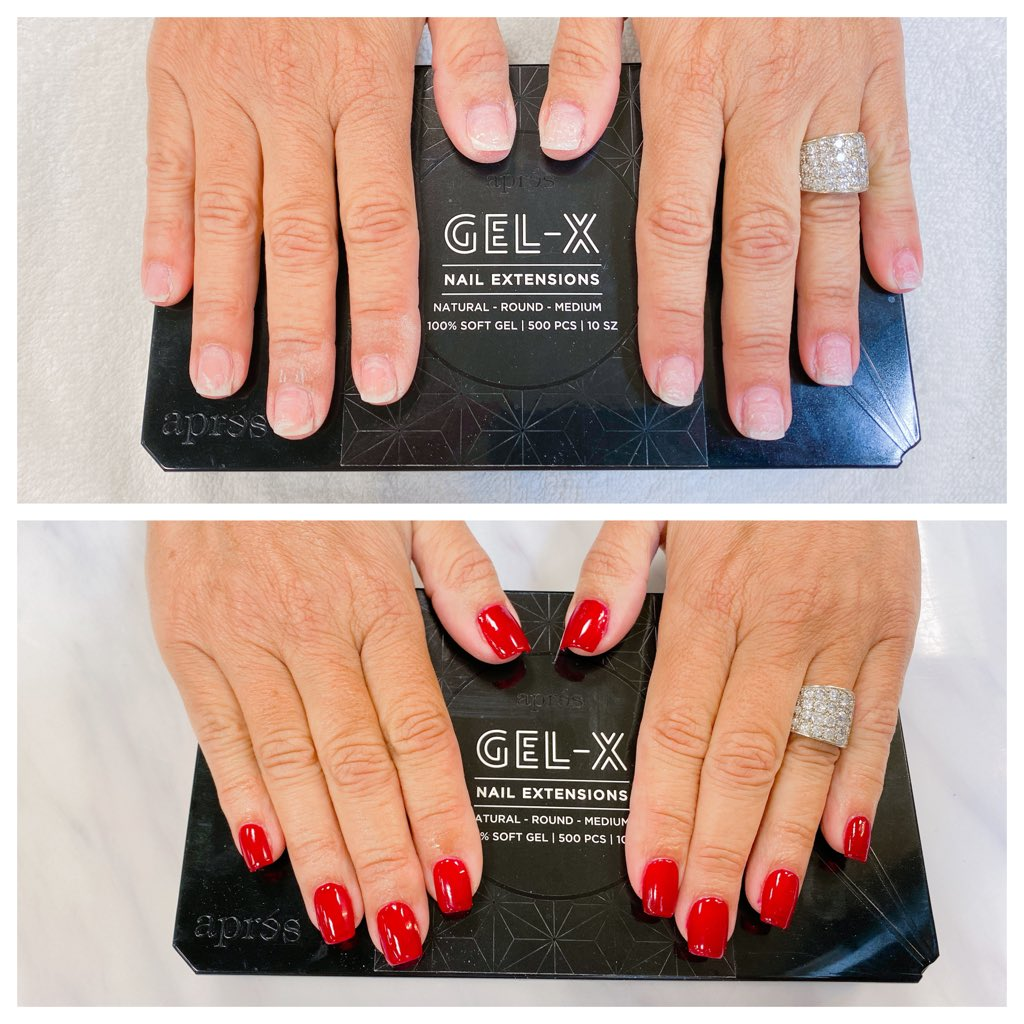 "So excited to announce that I am now offering Gel-X Nail Extensions. Took off my clients acrylics that she has had on for several years and put on Gel-X and she is loving them! I used @dndgel called ""Boston University"" #nails #red #apres #gel-x #beauty #polishedbyamberpic.twitter.com/vmkEcapiLh"