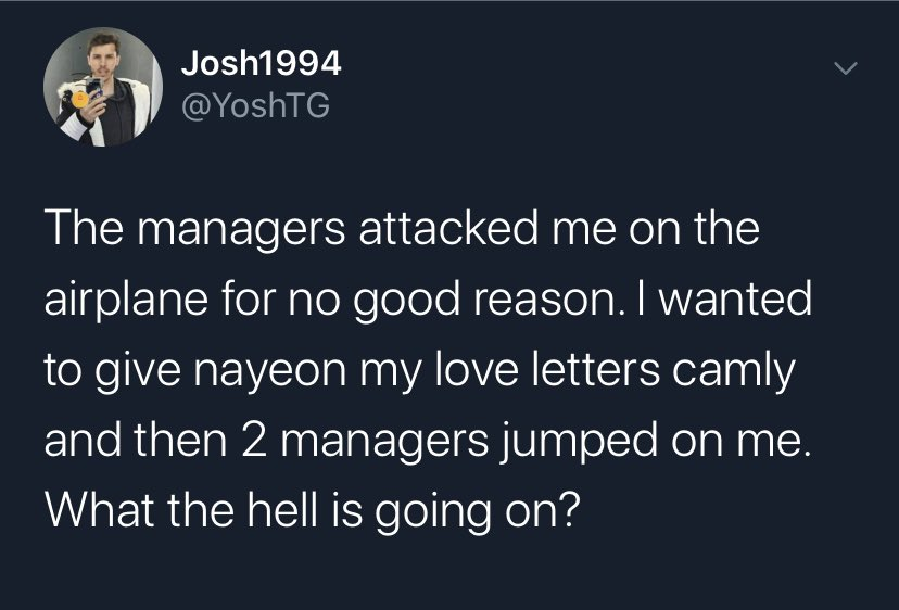 This guys is not sane. I urge ONCES who are interacting with him to please STOP! It does no good. Quit following him. Quit DMing him. Quit trying to talk sense into him. He doesnt even know why #TWICEs manager attacked him FFS. 😡 #ProtectTWICE #ProtectNayeon #LeaveTWICEAlone